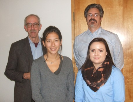 Queens students Erica Vertefeuille and Jessica Steeves pictured with Foundation Directors Stephen Reford and Jerry Roth.