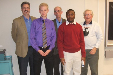 UWO scholarship recipients Adrian Smith & Innocent Ezenwa received awards and congratulations from Foundation Directors Reford, Roth & Reed at December 7th KEGS/UofT meeting