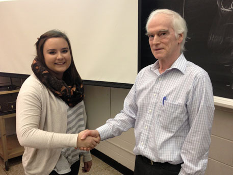 Scholarship presentation to Jessica Steeves by Yves Lamontagne.
