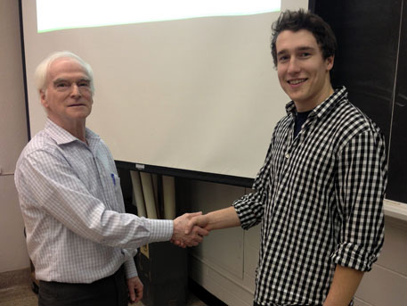 Scholarship presentation to William Smith by Yves Lamontagne.
