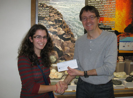 Scholarship presentation to Jade Ghaoui by Prof. Richard Fortier