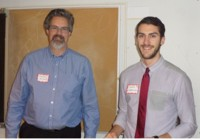 Stephen Reford, KF Vice-Chair, presents scholarship to Joseph Farrugia, University of Western Ontario (R).