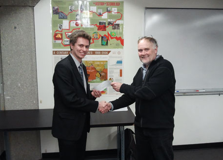 Scholarship presentation to Tim Hayward by Prof. Ian Ferguson.