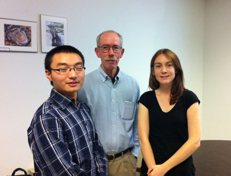 UofT scholarship recipients Kun Guo and Laura Quigley (Front) with Jerry Roth, Foundation chair.