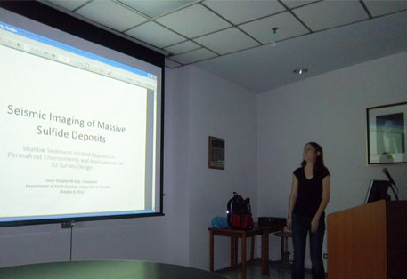 Laura Quigley presents a summary of her graduate research project, 'Seismic Imaging of Massive Sulfide Deposits'.